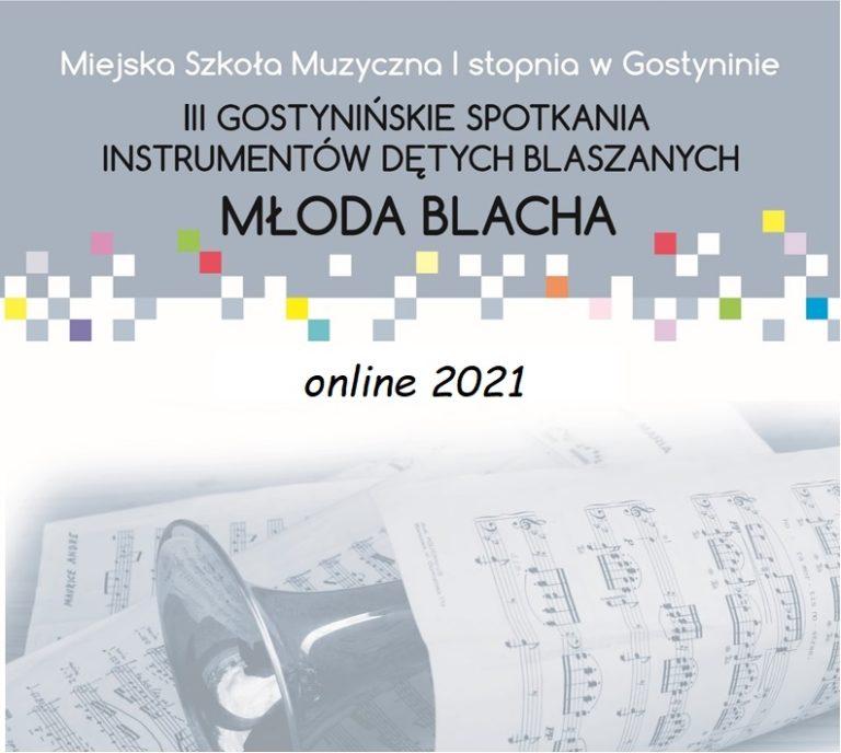 Plakat informacyjny o konkursie Młoda Blacha 2021